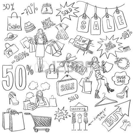 Shopping doodles Sale hand drawn style Excellent vector illustration Stock Vector