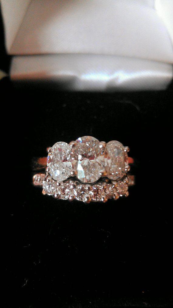 14k gold 1.5ct Diamond Wedding Set on Etsy, $2,500.00