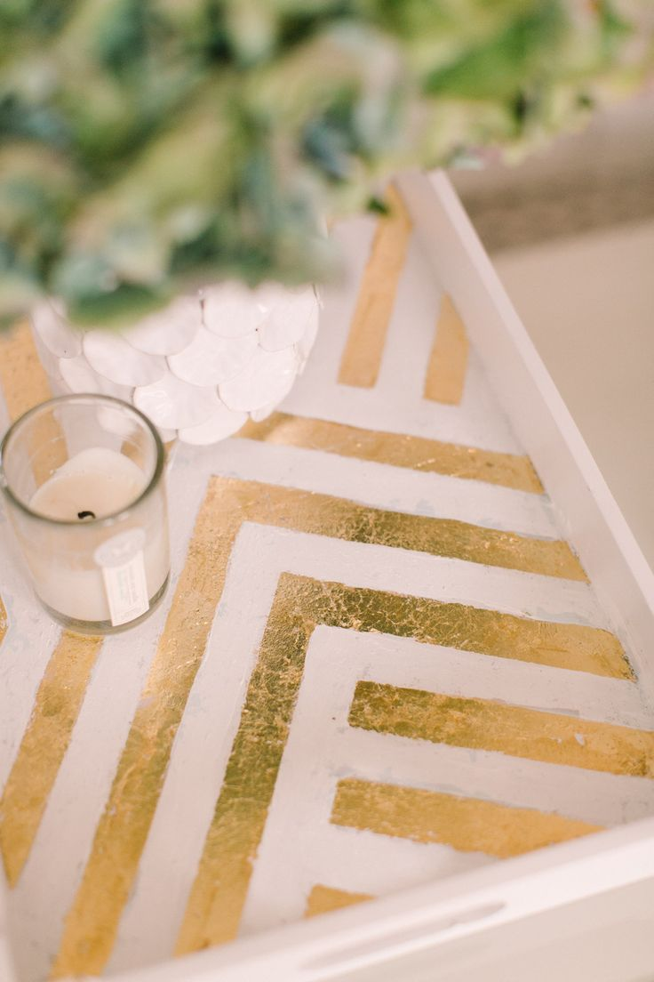 8 #DIY projects to Spruce up your Home: Gold Zig Zag Tray
