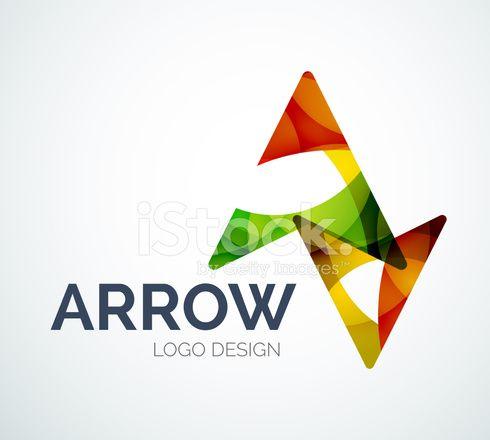 Pijl pictogram logo ontwerp gemaakt van kleur stukken