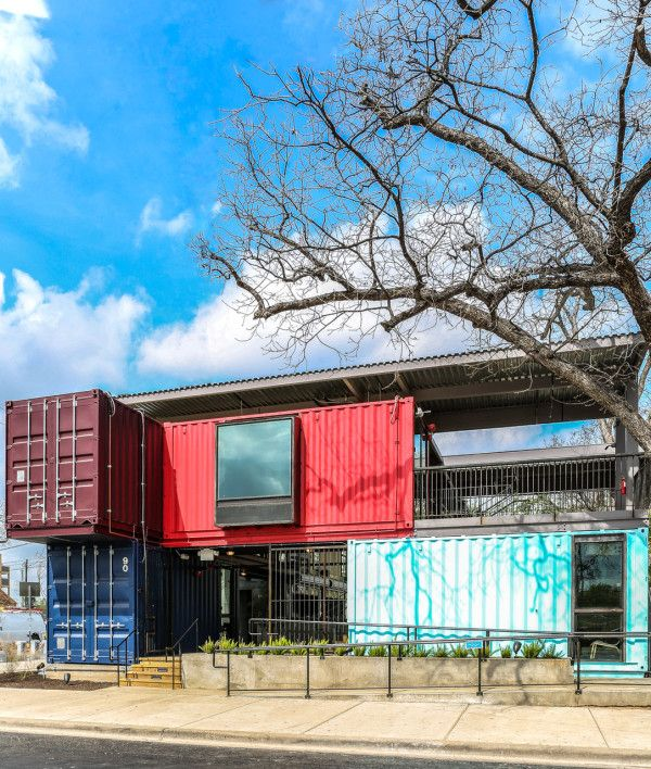 The Container Bar in Austin Texas, designed by North Arrow Studio and Hendley | Knowles Design Studio took 3 years to construct