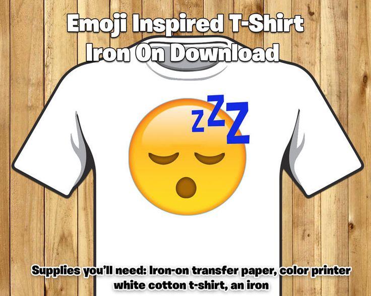 DIY Emoji Inspired T-Shirt Iron On - Sleeping Emoji Iron On - Sleepy Emoji T-shirt Iron-On Instant Download Emoji Zzz Tired Sleep Emoji by instbirthday on Etsy