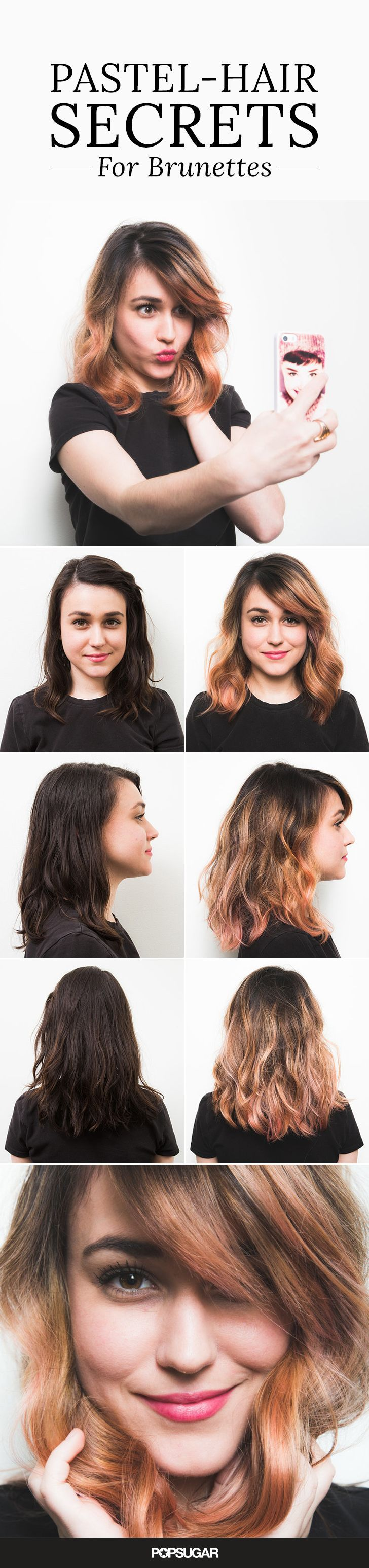 We know — it's not easy for brunettes to get in on all the rainbow hair fun. We got all the tips for making rose gold hair color pop on dark hair (and tricks to boost the hue when it starts to fade).