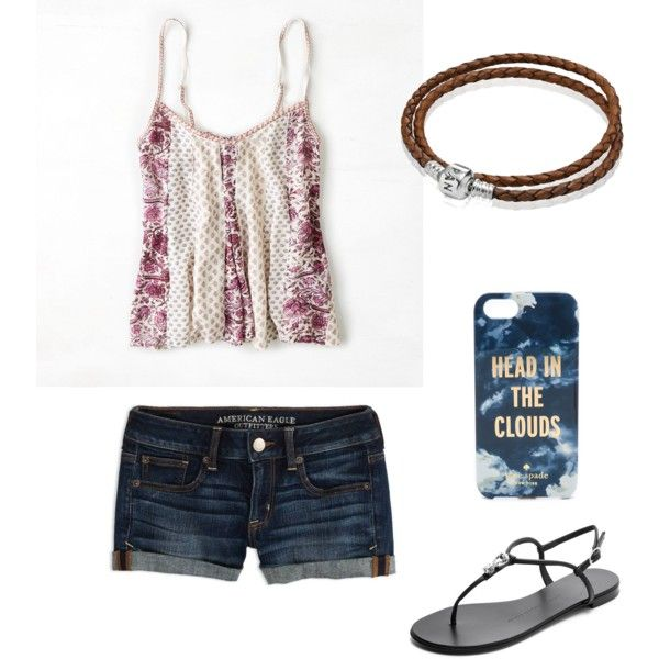 A fashion look from January 2015 featuring American Eagle Outfitters tops, American Eagle Outfitters shorts and Giuseppe Zanotti sandals. Browse and shop relat…