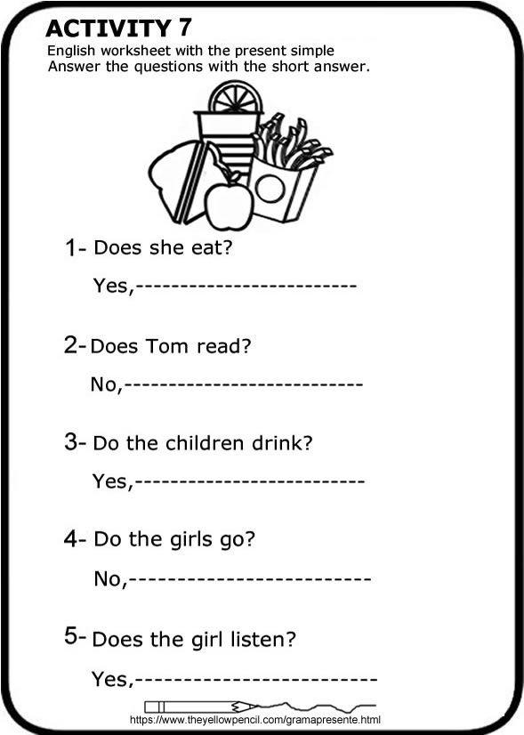 Presente Simple En Inglés Ficha Para Imprimir Respuestas Cortas Worksheet To Pr Presente Simple En Ingles Hojas De Inglés Para Niños Ingles Para Preescolar
