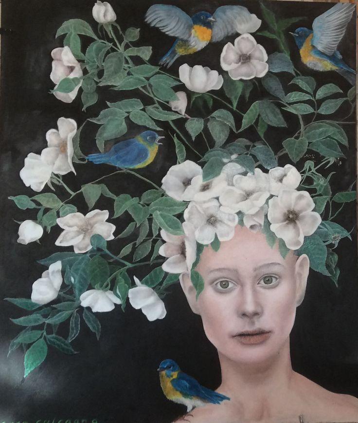 Regina di Fiori. Regina di Rose Selvatiche. Olio su tavola. 50 x 60 cm. Di Sara Calcagno, pittrice italiana