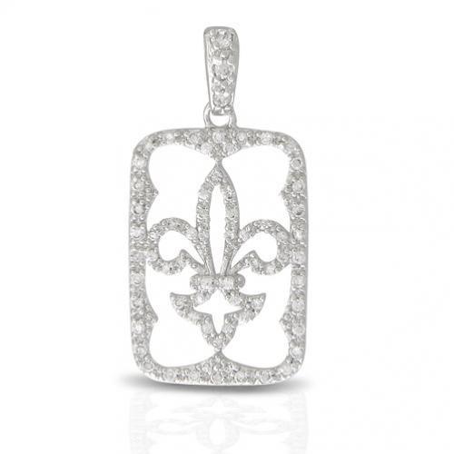 Bling Jewelry 925 Sterling Silver Fleur De Lis Pave CZ Dog Tag Pendant