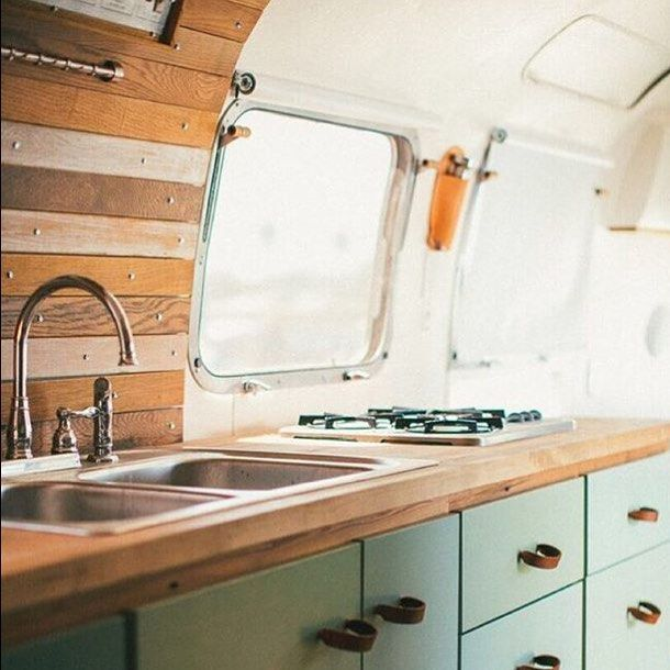 Cool renovation on an Airstream by @brodytravelsupply on Instagram.  Like the modern drawers against the raw wood look.