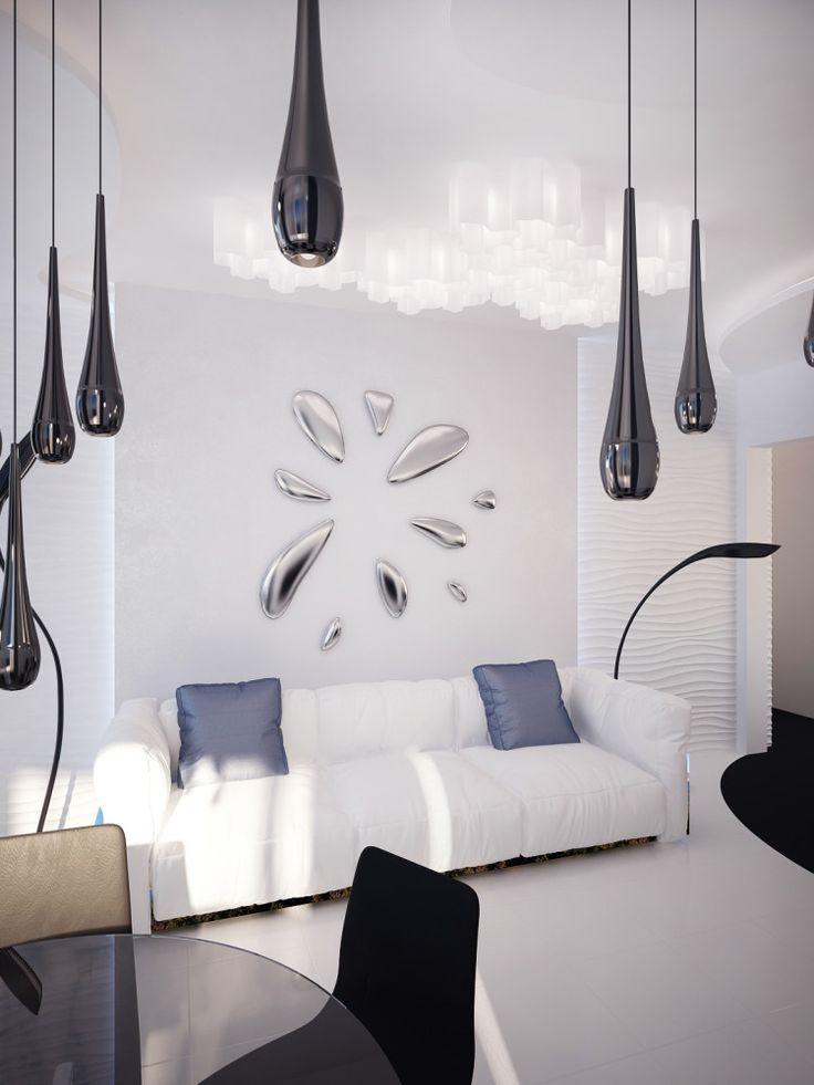 Гостиная в цветах: Белый, Голубой, Светло-серый, Фиолетовый. Гостиная в стиле: минимализм.