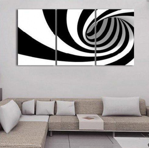 Black White Modern Handicraft Oil Painting on Canvas Art Decor Wall(no Framed)