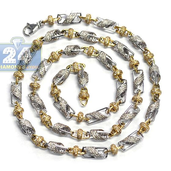 145851c8879d5 14K Two Tone Gold 17.51 ct Diamond Bead Link Mens Chain 30 Inches in ...