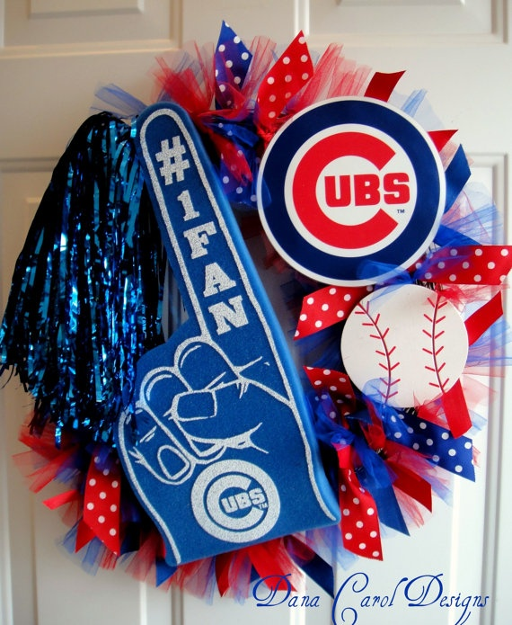 Chicago Cubs Team Spirit Wreath by DanaCarolDesigns on Etsy, $65.00