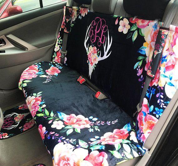 Car Seat Cover Back Seat Car Cover Deer Skull Flowers Antler