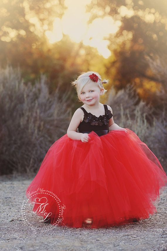 red tutu red dress flower girl dress tulle by BambaroosBoutique, $195.00
