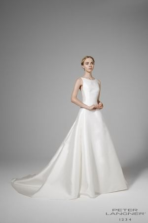 Jewel A-Line Wedding Dress  with No Waist/Princess Seams in Silk Satin. Bridal Gown Style Number: