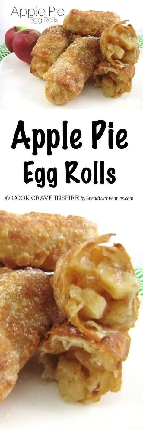 Apple Pie Egg Rolls!! If you like the OLD McDonald's apple pies (the fried ones!) you will LOVE these! Crispy shells with a warm apple pie filling.