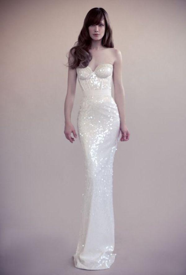 Yavi Ravid white sequin dress // The Wedding Scoop Spotlight: Sparkly Wedding Dresses - Part 2