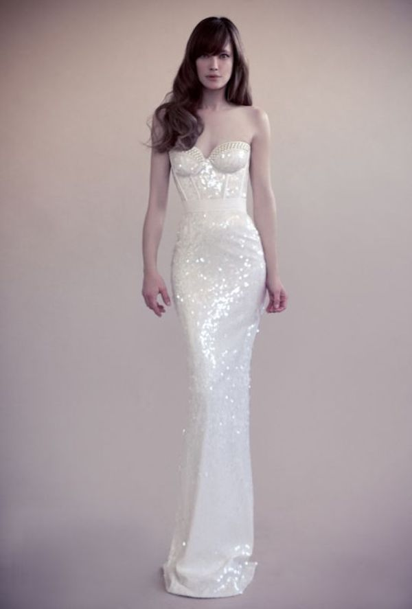 Yavi Ravid white sequin dress // The Wedding Scoop Spotlight: Sparkly Wedding Dresses - Part 2