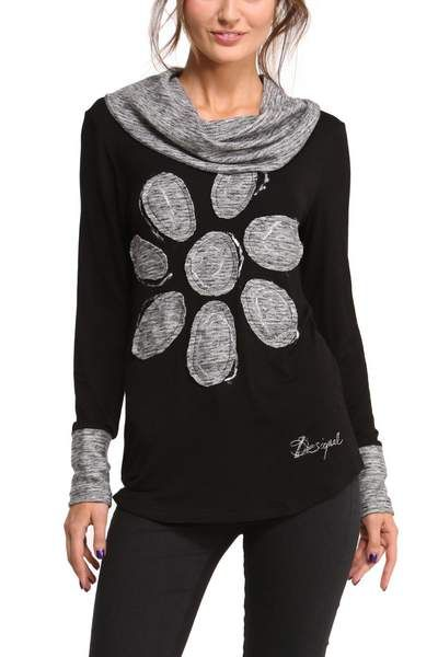 Desigual women's Myriam long-sleeved T-shirt. We play with gray tones to give this garment a simple print, with a different air. The daisy gives it that fun, Desigual touch you are looking for.