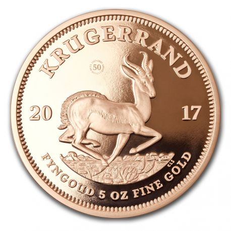 South Africa 2017 - Krugerrand 50th Anniversary 1967-2017 - 5 oz. Gold Proof Coin  South African Mint - Krugerrand 50th Anniversary 5 oz. Gold Coin