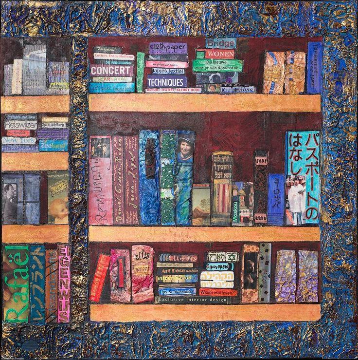 Saskia Weishut-Snapper. De Boekenkast.  Deze collage heb ik gemaakt voor een expositie t.g.v. de Boekenweek 2013 in Boerderijgalerie De Osseberg in Grijpskerke (Zeeland). Het is een aantal boekenplanken met daarop staande en liggende boeken met onderwerpen die mij interesseren: kunst, muziek, reizen, Jodendom, Japan, textiel e.a. Het was leuk om eens niet te werken met stof, maar met papier, karton, tyvek, acrylverf en stiften en om de titels van de boeken te vinden of te ontwerpen.