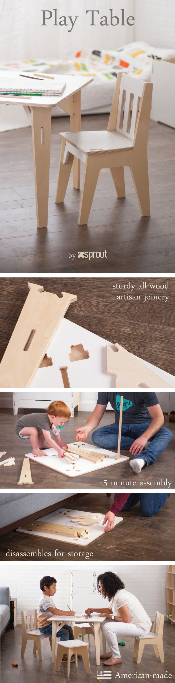 Create the foundation of a little studio for your kids with Sprout's kids wooden table and chairs.  The tool-less artisan joinery makes assembling the table so easy that your toddlers can help! Disassembly is just as simple, with easy flat pack storage options.   Learn more about the child table and chairs at Sprout.