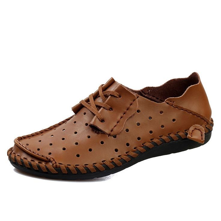 Size 38 to 44 2015 Summer Mens Loafers Leather Fashion Breathable Slip On Shoes Men Sapatos Light Brown Dark Brown Gray