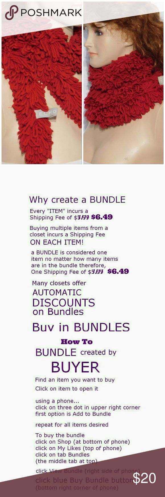 Offers of 40% Less on BUNDLES Always Accepted! ECHO, Scarf, multiple wrap around styles.    Knit, soft, stretchy, machine washable. ADD to a BUNDLE! Offers of 40% Less on BUNDLES Always Accepted!  (Camera battery issues, more pic coming soon!) Echo Accessories Scarves & Wraps