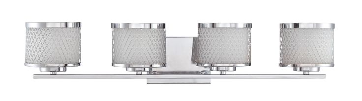 Jeremiah Lighting 166294 Euclid 4 Light Vanity Light with Wire Outer Shades - 29 Chrome Indoor Lighting Bathroom Fixtures Vanity Light