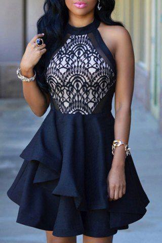 Elegant Stand Collar Flounced Sleeveless Dress For Women Summer Dresses | RoseGal.com Mobile