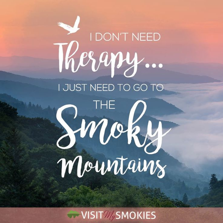 I don't need therapy...I just need to go to the Smoky Mountains!