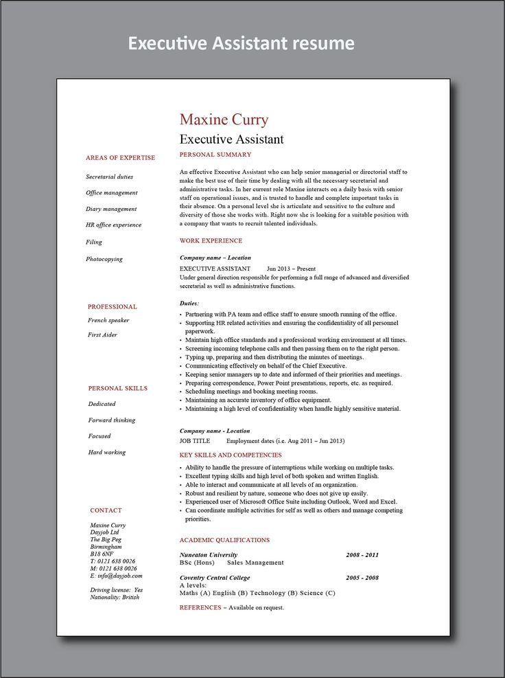 Executive assistant resume project manager resume