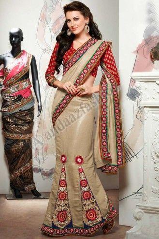Designer Saree nuptiale en ligne Conception No. 6432 tissu: Pashmina Prix: 60,18 € http://www.andaazfashion.fr/womens/sarees/cream-pashmina-saree-dm6432.html