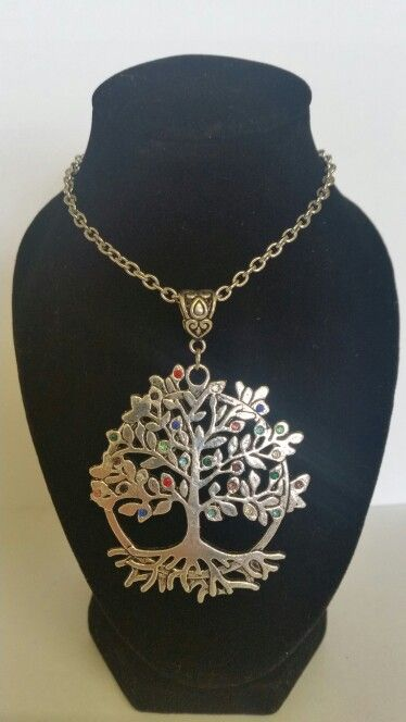 Tree of life pendant necklace. Coloured rhinestones. AUS $ 14.00