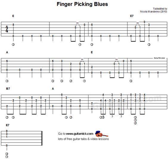 Fingerpicking Blues - fingerstyle guitar tab | Pickin&grinnin