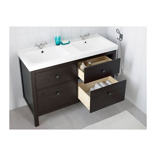 HEMNES / ODENSVIK Sink cabinet with 4 drawers - black-brown stain - IKEA