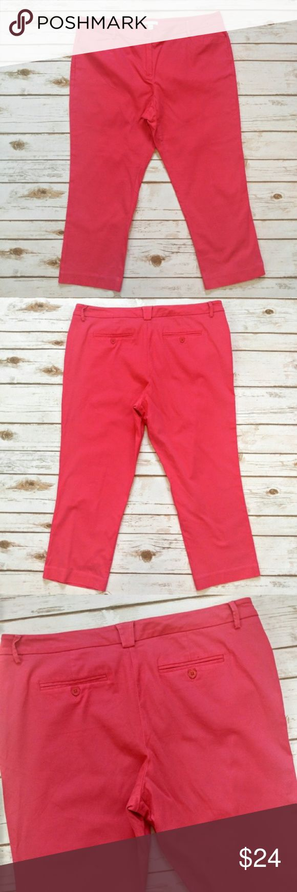 "New York & Company Pink Capri Khakis New York & Company Pink Capri Khakis  Size 14 in excellent condition. These are a very pink red color. 19"" waist 23.5"" inseam. Please let me know if you have any questions. I ship the same day as long as the post office is still open. Have a great day, thanks for checking out my closet and happy poshing! New York & Company Pants Capris"