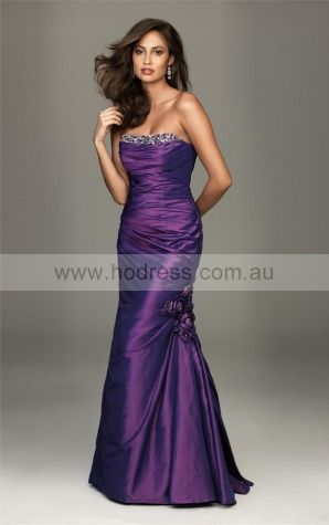 Sleeveless Lace-up Strapless Floor-length Satin Evening Dresses dt00333--Hodress
