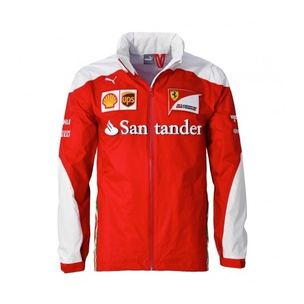Scuderia Ferrari Replica 2016 Jacket ($220) ❤ liked on Polyvore featuring outerwear, jackets, red hooded jacket, logo jackets, red jacket and hooded jacket