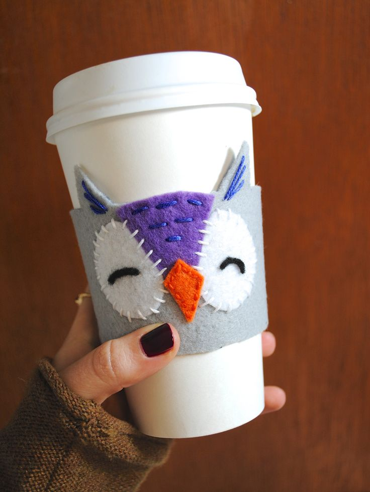 Owl coffee cozy