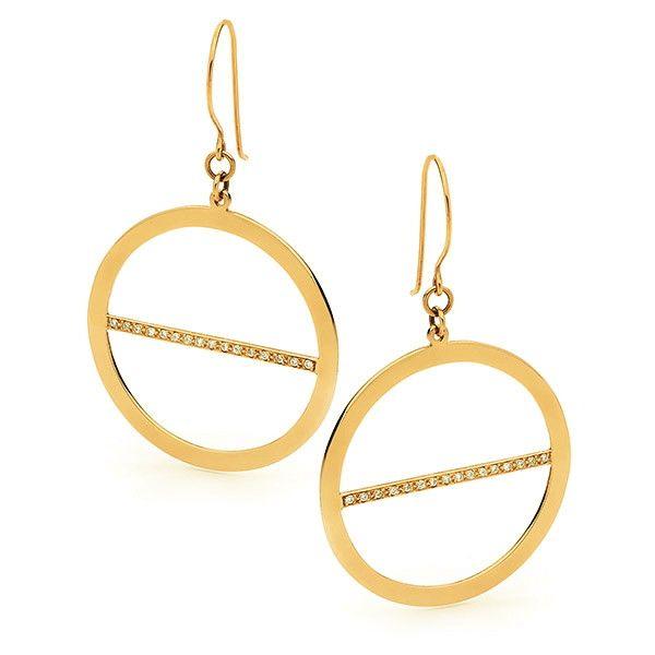 Yellow Gold Lunar Eclipse Earrings