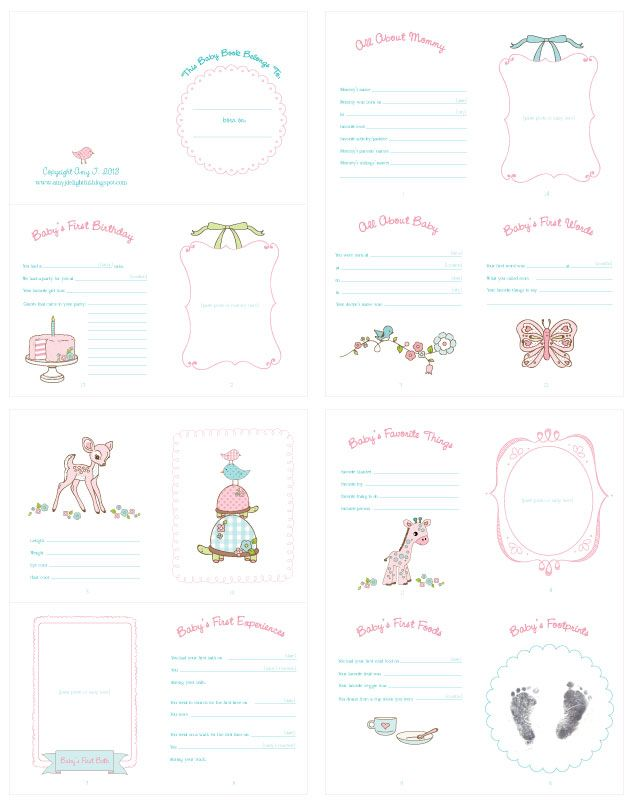 Free printable // By Delightful Distractions // BABY BOOK!