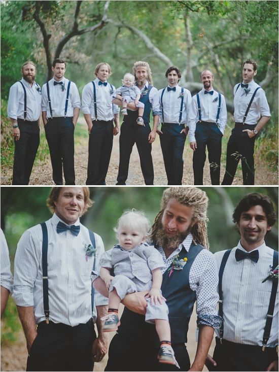 modern style for groom and groomsmen and tiny ring bearer #groomsmen #moderngroom #weddingchicks http://www.weddingchicks.com/2014/02/03/malibu-forest-diy-wedding/