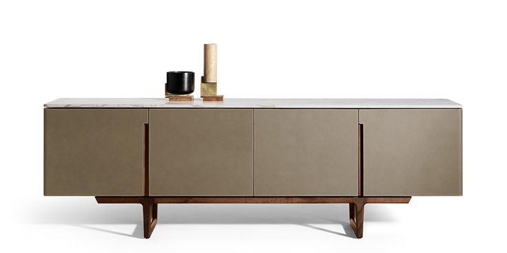 CONTEMPORARY SIDEBOARD | a modern sideboard in grey with wood support perfect for any living room decor |www.bocadolobo.com #modernsideboard #sideboardideas
