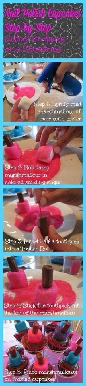 Step-by-Step Spa Sleepover Birthday Party: Marshmallow Nail Polish Cupcakes - Sisters Shopping on a Shoestring by Jinx62