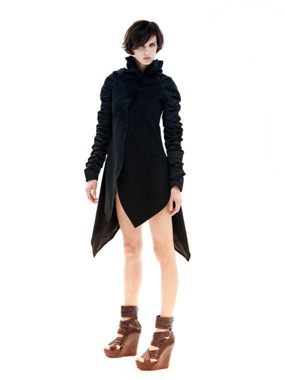 Black Jacket, Winter Jacket, Avant Garde Jacket, Long Jacket, Deconstructed Jacket, Women's Jacket, Plus Size Jacket, Women's Black Jacket 1