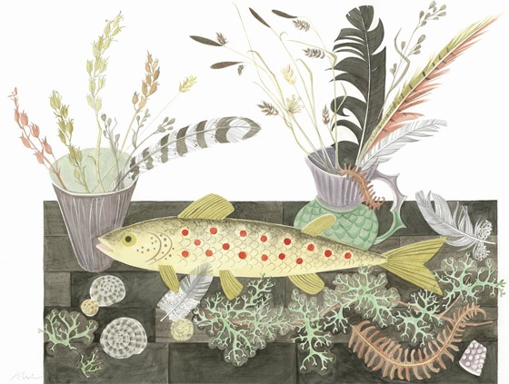 """""""Emily's Fish"""" by Angie Lewin (original watercolour drawing)"""