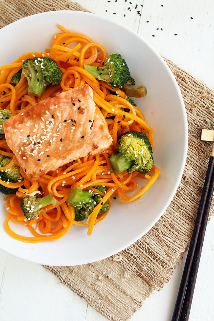 "Baked Salmon and Sesame Butternut Squash ""Soba"" Noodles with Broccoli (at Against All Grain!)"