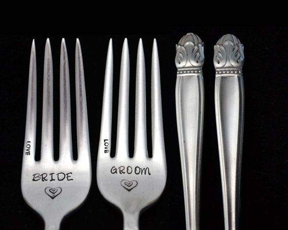 Stamped Forks Bride Groom Wedding Silverware by TheSilverwearShop