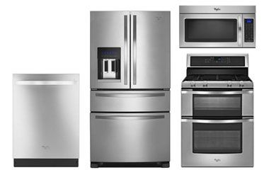 Whirlpool Stainless French Door Refrigerator - WRX735SDBM/ Whirlpool Stainless Double Oven Gas Range - WGG555S0BS/ Whirlpool Gold Stainless Steel Built-In Dishwasher - WDT920SADM/ Whirlpool Stainless Microwave Hood - WMH32519CS